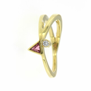 Ring 585/- Gelbgold Brillant 0,04 WSI/Turmalin