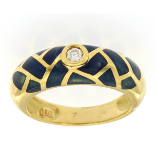 Ring 750/- Gelbgold Brillant Emaille