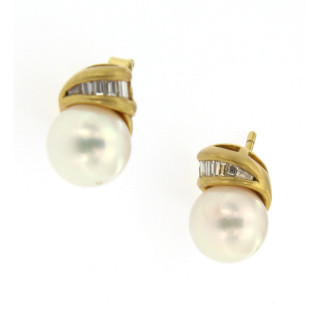 Ohrstecker 750/- Gelbgold, Perle, Diamant