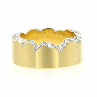 Schmuckwek Ring Cliff 7mm 750/-Gelbgold 24 Brillanten 0,18ct. tw/vs